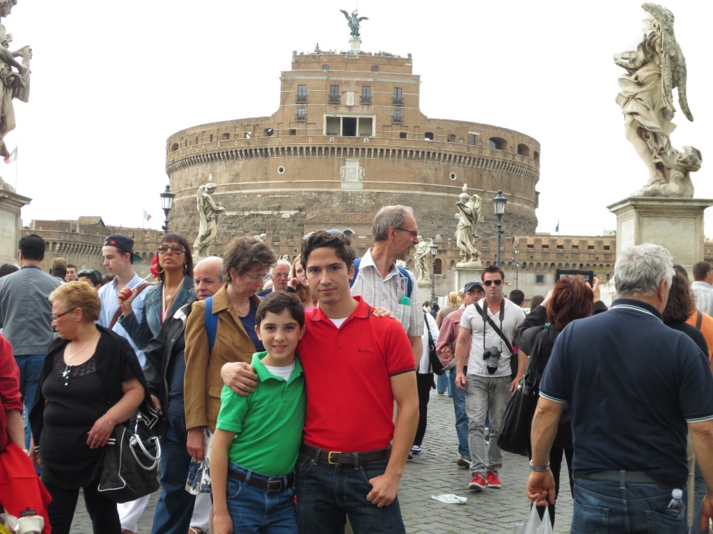 Alex and Augustin in front of Castel Sant' Angelo in Rome, Italy
