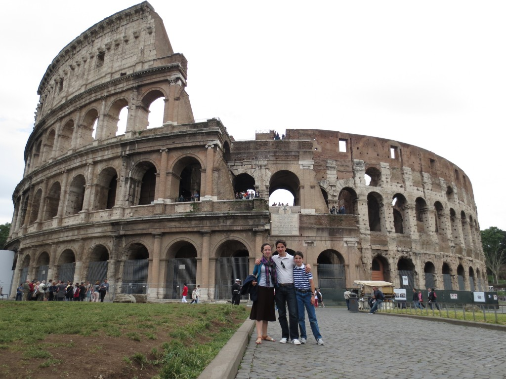in front of the Colosseum in Rome Italy