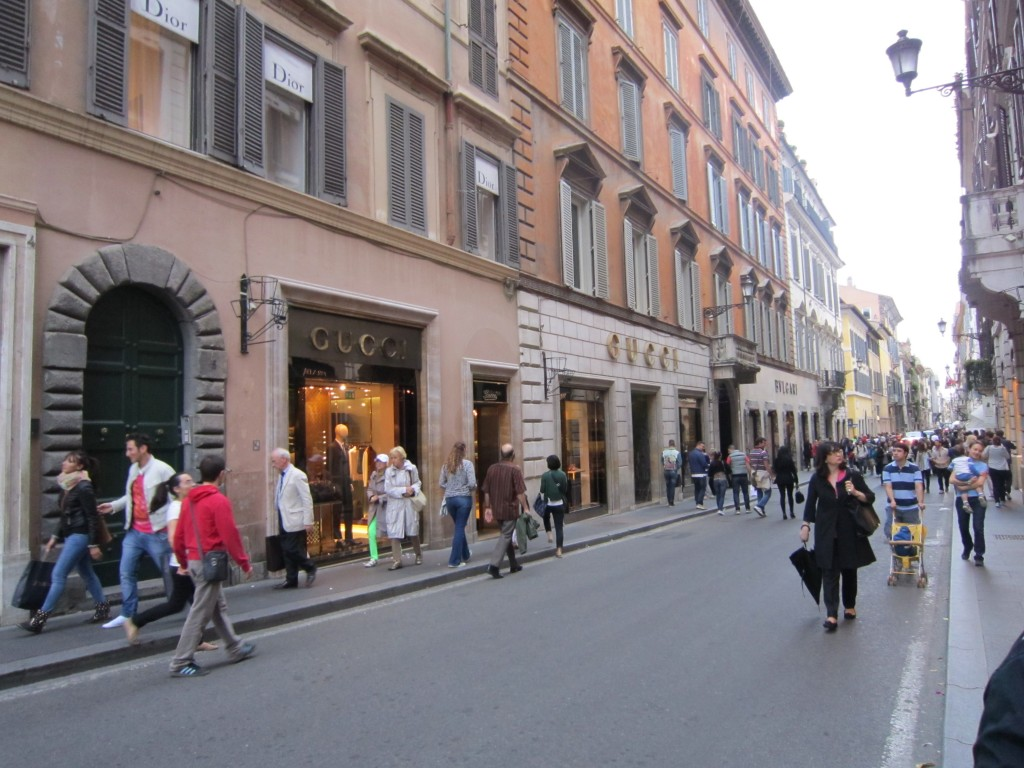 Via Dei Condotti, luxury shop street near the Spanish Steps, Rome, Italy