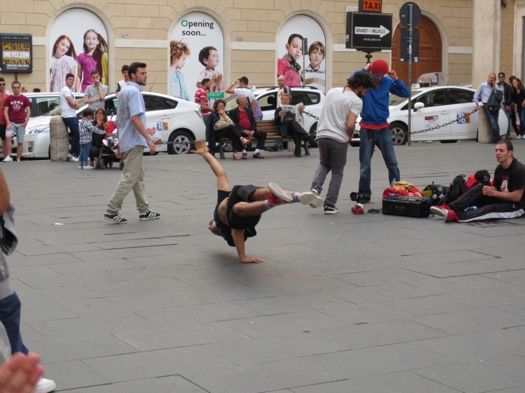 Breakdancers and street performers in Rome, Italy