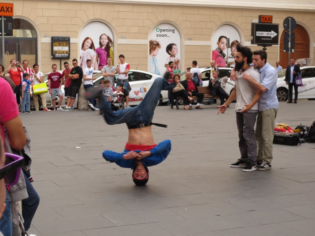 Street performer and dancer in Rome, Italy.