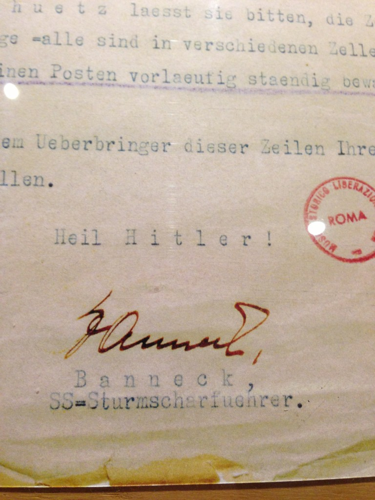 Letter in the Liberation Museum, Rome, Italy