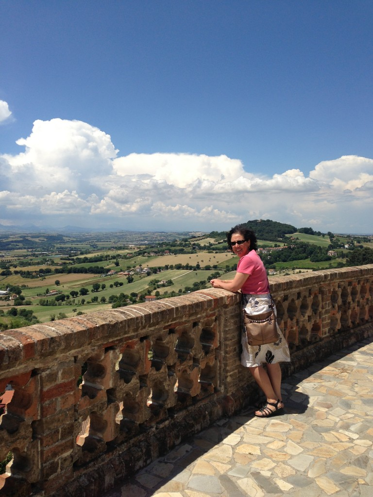 Mom on the overlook on the way up to Osimo, Italy