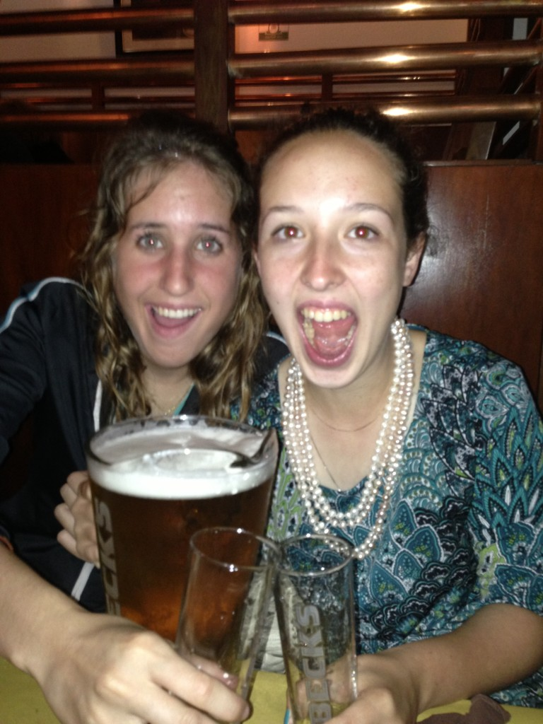 Philly and Mary, happy about the beer at Wanted Restaurant