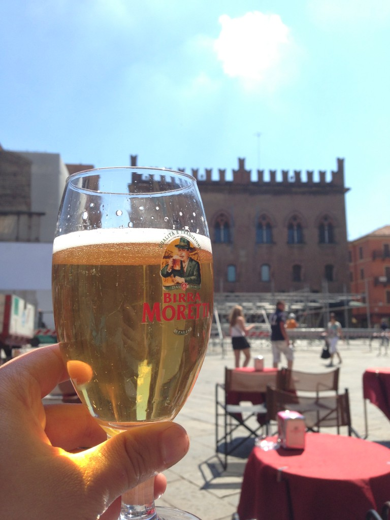 Drinking Birra Moretti in the main square in Bologna, Italy