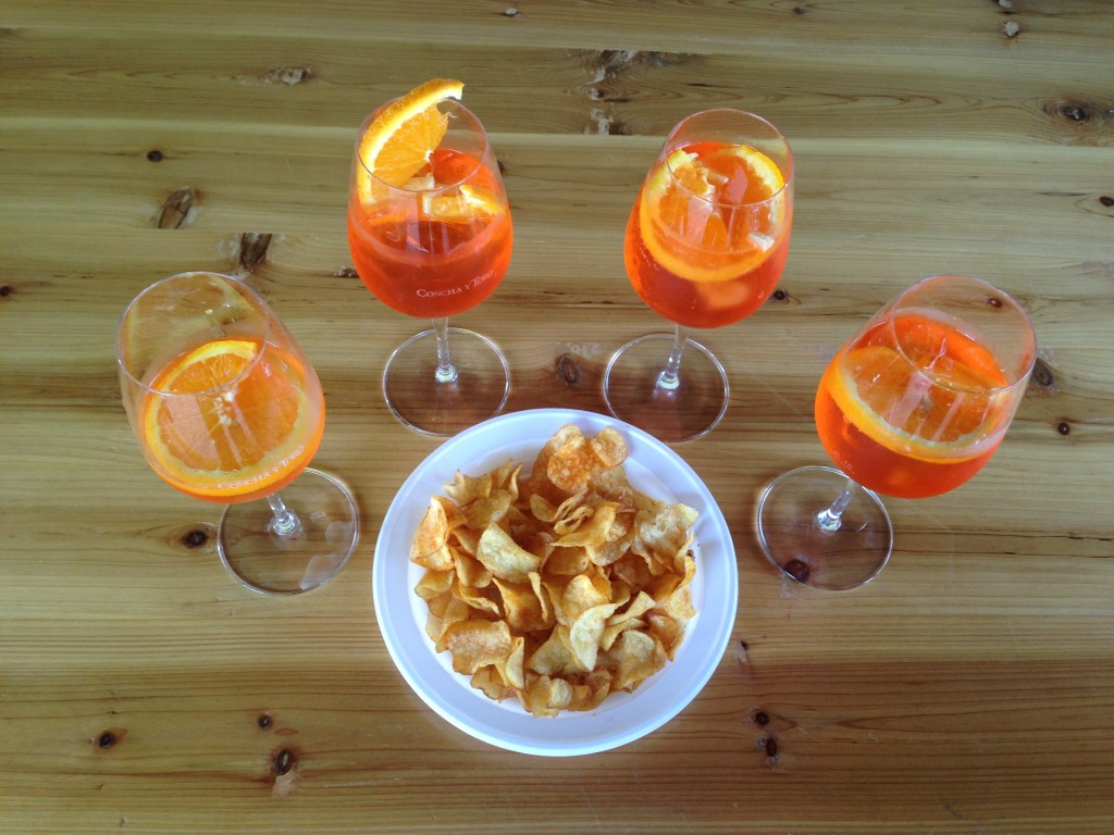 Aperol Spritz and chips