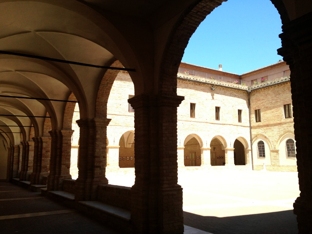The courtyard of the church dedicated to St. Joseph Cupertino