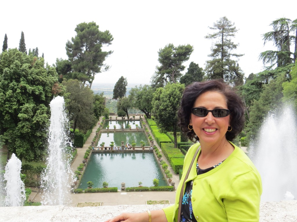 Mom in front of fountains at Villa D'Este, Tivoli, Italy. Outside of Rome