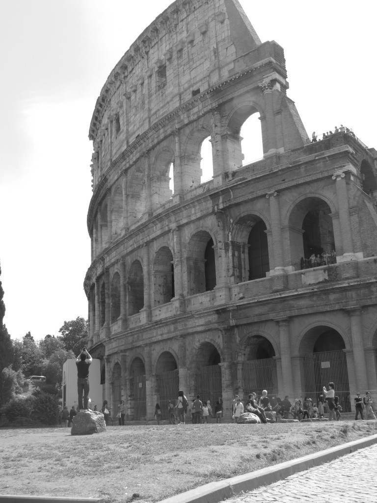 A shot of the Colosseum in B+W