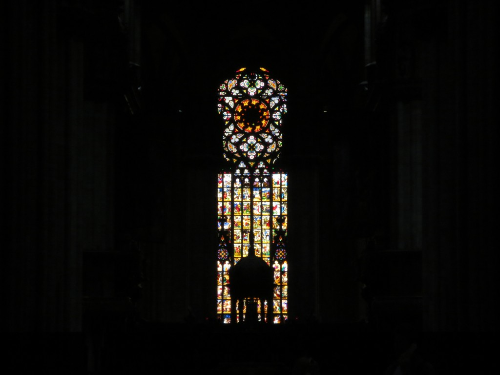 Rose window in the duomo of Milan