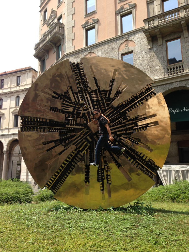 Climbing on the big disk in Milan